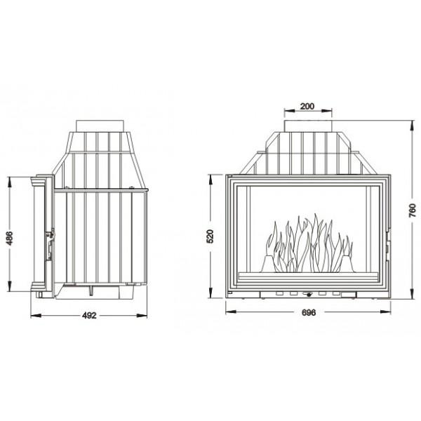 UNIFLAM 700 PANORAMA + подъем двери   ref. 601-743
