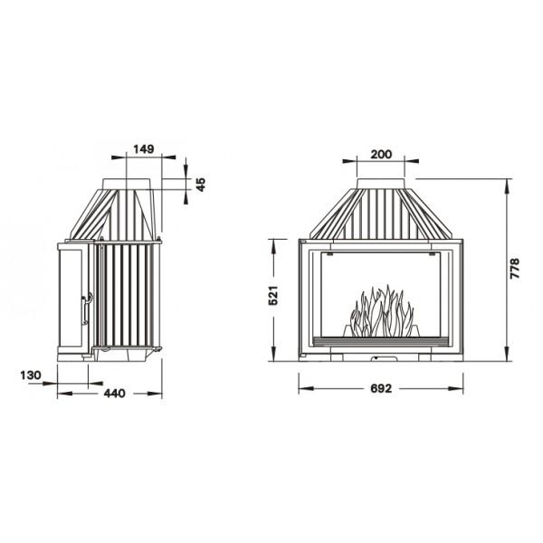 UNIFLAM 700 PRYZMA с шибером   ref. 601-685